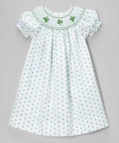 66ace5377 Look at this Rosalina White & Green Shamrock Bishop Dress - Infant, Toddler  & Girls on today!