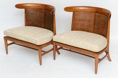 1stdibs.com | Pair of Silk Upholstered Erwin-Lambeth Slipper Chairs