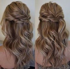 Bridesmaid hair Pretty Half up half down hairstyles - Pretty partial updo wedding hairstyle is a great options for the modern bride from flowy boho and clean contemporary Wedding Hair Down, Wedding Hair And Makeup, Hair Makeup, Half Up Half Down Wedding Hair, Half Up Half Down Hair Tutorial, Prom Hair Down, Formal Hair Down, Wedding Half Updo, Messy Half Up Half Down Hair