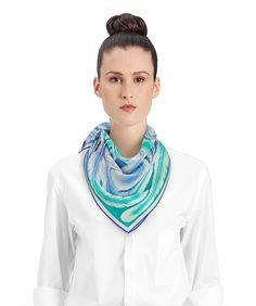 2015 FW | A la Plume | Vintage silk scarf in 100% silk (70 x 70 cm) | Florence Manlik | Ref. : H982966S 19 Bleu/Vert/Blanc |  €255.00