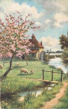 Full Sized Image: five sheep grazing in orchard, stream to right Storybook Cottage, Cottage Art, Garden Cottage, Farm Cottage, Landscape Art, Landscape Paintings, Arte Country, Photo Vintage, Country Scenes