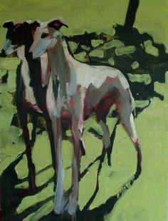 Double dog, 2005 © Nick Bodimeade Paintings I Love, Animal Paintings, Greyhound Kunst, Dog Artist, Dog Artwork, Grey Hound Dog, Dog Illustration, Dog Portraits, Animals And Pets