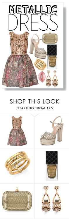 """""""Don't Look Back In Anger"""" by georzandri ❤ liked on Polyvore featuring Notte by Marchesa, Valentino, Yves Saint Laurent, Gucci, Vivienne Westwood, Anton Heunis, Lime Crime, gold, metallic and gucci"""