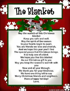 Christmas Gift Idea! Cute poem to give with a blanket