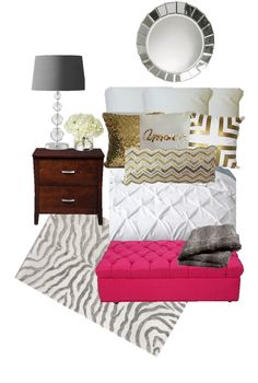 Birch Grove Interiors, white texture, gold sequin, clear glass glam with a touch of hot pink, zebra and faux fur of course.