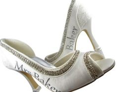 Kitten toe pumps - a fabulous gift for the bride to be: Bridal Heels- Personalized Wedding Peep Toe Pumps for the Bride  You will love the personalized touch and bling on your custom made wedding heels! These fab heels come in ivory or white and are encrusted in diamanté rhinestone beading for lots of bling. Choose from 3 heel heights: 2 inch, 3.5 inch, 4.5 inch. The outside side of each shoe is personalized with your new last name, Bride, or custom personalization and color.  The very…
