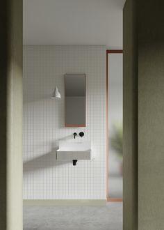 Marcante Testa designs Frieze bathroom basins for Ex. Contemporary Living, Washbasin Design, Bathroom Collections, Bathroom Basin, Bathroom Inspo, Showcase Design, Bathroom Interior Design, Interiores Design, Interior Architecture