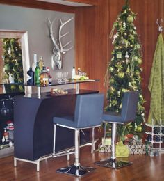 Home bar advantage. Unveil the chic factor for guests as they sip and socialize around the Broderick Bar. Mid Century Modern Furniture, Midcentury Modern, Slim Tree, Urban Barn, Unique Home Decor, New Furniture, Home Accents, Dining Table, Wall Decor