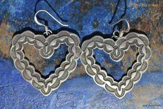 Vintage Southwestern Tribal Sterling Silver Heart Pierced Earrings.