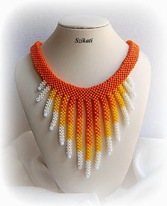 Beaded yellow white orange seed bead necklace summer by Szikati Seed Bead Necklace, Seed Bead Jewelry, Beaded Jewelry, Beaded Necklace, Pendant Necklace, White Pearl Necklace, Bead Loom Bracelets, Summer Necklace, Unique Gifts For Her