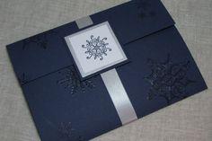 Snowflake Navy & Silver Wedding Invitation by MoonlightStamper, $6.50