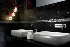 Black Marble Tiles suitable for Herringbone Pattern