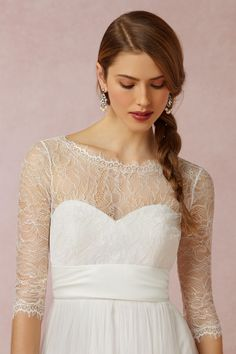 Marnie Topper from @BHLDN — This is the topper I tried on at the store. I LOVE the back of it (v-shaped back, ribbon tie), but what I didn't love was the 3/4-length sleeves and the very visible seams. The visible seams especially made it look a little bit cheap.