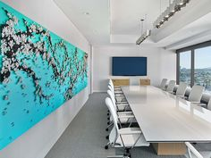 Conference room - Bright Colors and Contemporary Artwork Punctuate Pritzker Group's Los Angeles Headquarters Office, LA, CA.