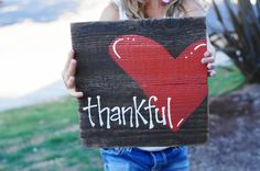 thankful reclaimed wood sign. $30.00, via Etsy.