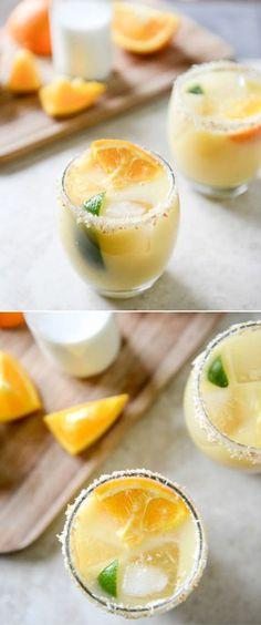 Coconut Creamsicle Margaritas #coconut #margaritas #cocktails