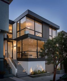 Cole Valley's 150 Carmel St. is a four-level, five-bedroom available for $7.69 million. Photo: Aaron Leitz Modern Architecture House, Modern House Design, Interior Architecture, Landscape Architecture, Landscape Design, Garden Design, Modern Exterior, Exterior Design, Exterior Paint