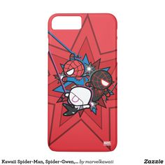 Kawaii Spider-Man, Spider-Gwen, & Miles Morales iPhone 8 Plus/7 Plus Case. Personalize these cute Marvel Kawaii team designs and make perfect gifts for any super hero or heroine fans. #cute #marvel #comic #kawaii #gifts #birthday #birthdayparty #birthdaycard #personalize #kids #shopping