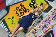#outfit #fashion #bluedress #ruffles #white #blodehair #graffitiwall #flats #navyblue #cute