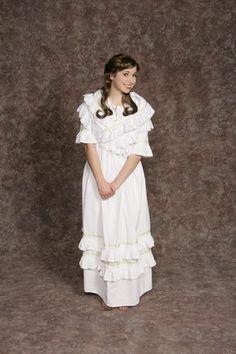 $15.00 Costume Rental  Pirates Nightgown Green  white nightgown w/green trim