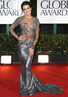 Lea Michelle in Marchesa at the 2012 Golden Globes