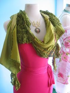 Linen and lace reclaimed vintage scarf by Paper People.