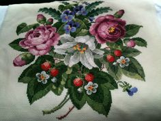 Finished the Permin of Copenhagen Flowers and Berries. Cross stitch.