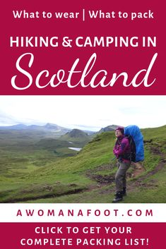 Packing List for Women Hiking & Camping Solo in Scotland — A Woman Afoot Going hiking in Scotland? Grab this complete packing list for women hiking & camping solo in Scotland to ensure you have all you need! Camping Checklist, Camping Essentials, Camping Ideas, Camping Hacks, Camping Gadgets, Camping Activities, Camping Guide, Outdoor Activities, Solo Camping