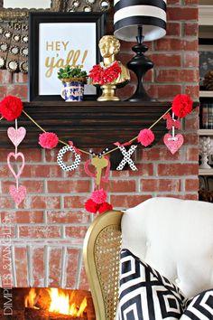 SPARKLY POM POM VALENTINE GARLAND      Valentine's Day Mantle