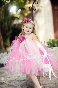 Flower Girl Tutu Halter Dress in Pink and White by Frills and Fireflies
