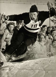 Norwegian slalom skier Guttorm Berge in the process of winning the bronze medal at the 1952 Winter Olympics in Oslo.