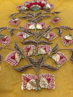 Gota & Bud work Only at DESI B store on facebook Zardosi Embroidery, Hand Work Embroidery, Couture Embroidery, Embroidery Motifs, Bead Embroidery Jewelry, Embroidery Suits, Indian Embroidery, Embroidery Fashion, Hand Embroidery Designs
