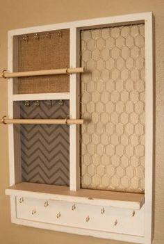 Deluxe size 35 x 29 wooden window Jewelry Organizer Repurposed
