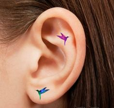 Hummingbird Tattoos on Ear