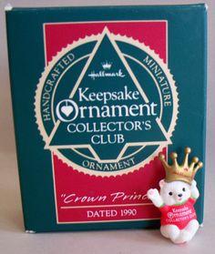 "Hallmark Keepsake Miniature Ornament Collector's Club, ""Crown Prince"", 1990."