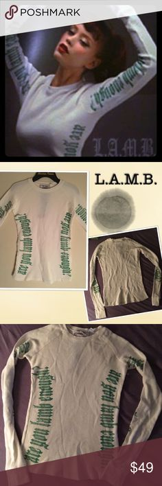 "L.A.M.B Thermal Top ""are you lamb enough?"" 06 coll L.A.M.B.  Thermal Top Rare thermal top from the fall 2006 L.A.M.B. collection.. Bright white with green lettering... ""are you lamb enough?"" Never worn, runs small.   Size XS  New without tag... L.A.M.B. Tops Tees - Long Sleeve"
