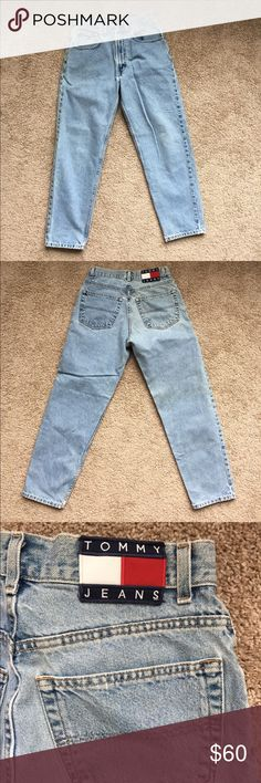 Light Wash Vintage (90s) Tommy Hilfiger Jeans! Perfect pair of 90s mid high rise Tommy Hilfiger jeans!! Features a large logo on the rear and embroidered logo on the front right pocket! Womens size 6, waist size 28 with a 30 inch inseam. Almost identical