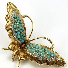 Jomaz Gold Pave Turquoise and Ruby Butterfly Pin