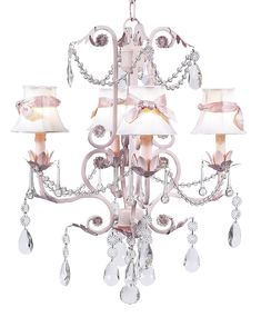 Chic Pink Chandelier With White Shades And Pink Sashes [7506 2408 305] - $526.00 : The Painted Cottage, Vintage Painted Furniture