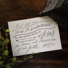 Hebrew 12:1-2 - Hand-Lettered Scripture Print - Bella Scriptura Collection from Paperglaze Calligraphy on Etsy, $7.50