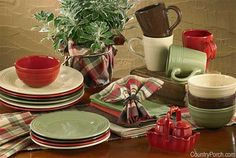 dinnerware collection - I love this color scheme and it goes with all seasons!