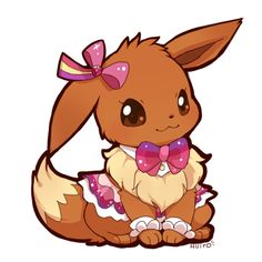 Eevee lovely dress up <3  the dress is from pikachu dress up in pokemon game Re-Complex Pokemon Omega Ruby & Pokemon Alpha Sapphire http://pokebeach.com/news/0714/hoenn-pikachu-2.jpg <3