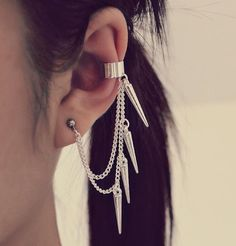 Silver Spikes Cartilage Ear Cuff Earring