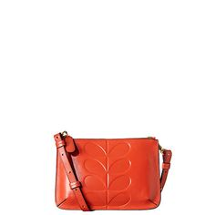 Orla Kiely | UK | Bags | AW14 Mainline | Embossed Stem Leather Forget-Me-Not Bag (14ABEMS126) | Red