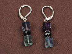 Fluorite EarringsStone EarringsDrop by EchosHealingStones on Etsy