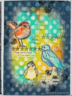 Layers of ink - Denim and Acrylic Paint Background Tutorial by Anna-Karin Evaldsson. Made with acrylic paint, gloss spray, Scribble Sticks and stamps by Dina Wakley. Face Collage, Paint Themes, Simon Says Stamp Blog, Bird Book, Crazy Bird, Art Journal Inspiration, Journal Ideas, White Gel Pen, Paint Background