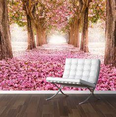 Romantic Tree Tunnel Wall Mural Photo Wallpaper Pink Flowers Wedding Backdrop