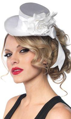 b30e4268774 Mini Top Hat Deluxe White Adult Satin Top