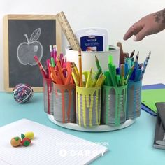 Make a Spinning Storage Station with this Easy DIY Tutorial diy videos classroom Kids Crafts, Diy And Crafts, Craft Projects, Projects To Try, Arts And Crafts, Cute Diy Crafts For Your Room, Diy Projects For School, Wood Projects, Homework Station Diy