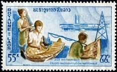 Radio Month: Here is an image of a stamp depicting studio musicians and radio broadcasting facilities, designed by Laotian artist Ng Cam, engraved by Georges Bétemps, and issued by Laos on March 30, 1965 to publicize British aid (as one of a set of four stamps recognizing foreign aid), Scott No. 106.- nethryk ラオス